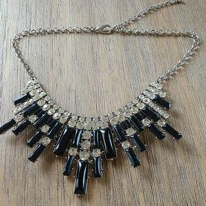 Gorgeous Black/Silver/Rhinestone Statement Necklac
